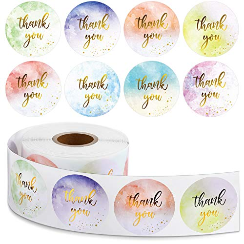 600 Pieces Gold and Watercolor Thank You Roll Stickers, Thank You Adhesive Stickers Business Thank You Roll Stickers Gold Foil Round Stickers for Baby Shower Wedding Bridal Supplies
