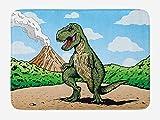 Dinosaur Bath Mat, Giant Lizard T-Rex on Active Volcano Untouched Jungle Backdrop, Plush Bathroom...