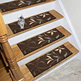 Ottomanson Ottohome Collection Leaf Design Stair Tread, 7 Pack, Brown
