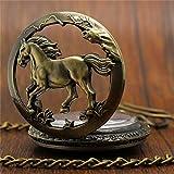 FMXKSW Reloj de Bolsillo de Bronce Vintage Reloj con Colgante de Caballo Retro de Cuarzo con Cadena de Collar con Llavero Hombres y Mujeres, Modelo 7