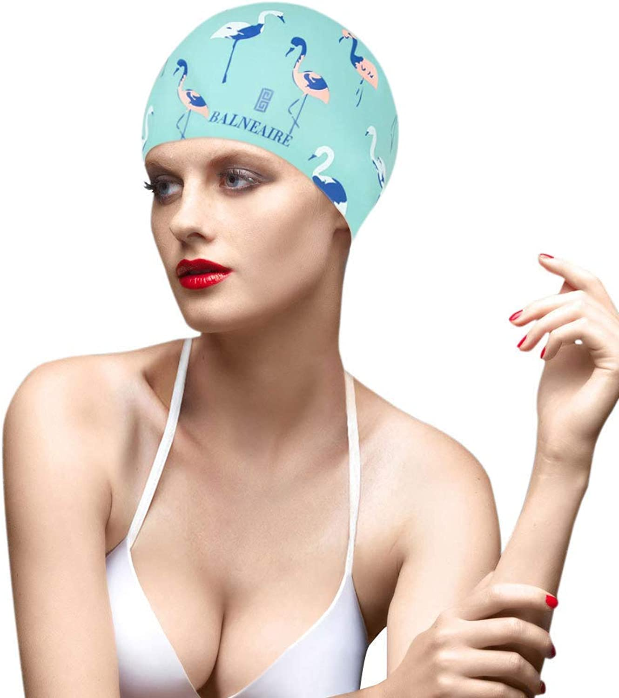 f5d27b5c BALNEAIRE Silicone Swim Cap for Women, Waterproof Long Hair Swimming ...