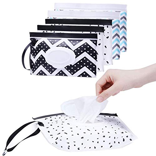 6 piezas de toallitas húmedas portátiles para bebés, caja de toallitas reutilizables, soporte para dispensador de toallitas húmedas (con tapa) que pueden colgar la caja de toallitas en la bolsa de pañ