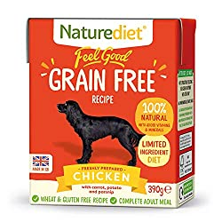 British chicken and a tasty trio of root veggies. Feel Good Grain Free Chicken is completely grain and gluten free. A nutritionally balanced complete meal. Created for dogs with allergies, intolerances and sensitive tummies. Appropriate for all breed...