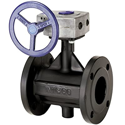 """NIBCO FD-5765-5 Series Ductile Iron Butterfly Valve with EPDM Encapsulated Ductile Iron Disc, Gear Operator, Flanged, 10"""" by NIBCO"""