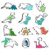 FINEVERNEK Juego de Cortadores de Galletas de Dinosaurio Molde de Dinosaurio de Acero Inoxidable Diseño Dinosaurio para Galletas Cortador para Niño Niña 12 Piezas
