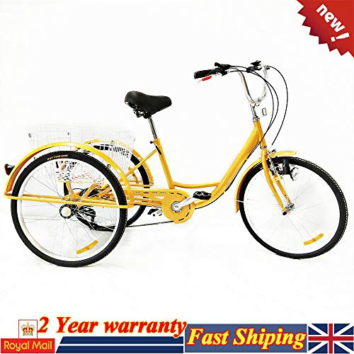 SHIOUCY 24'3 Wheel Adult Bicycle Tricycle Cruise Trike + Basket + Head Light, 6 Speed Basket...