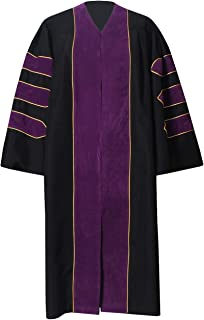 GraduationForYou Unisex Deluxe Doctoral Graduation Gown With Gold Piping,Customized Acceptable