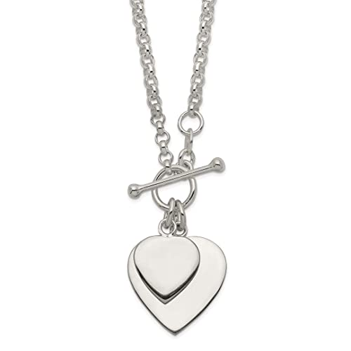 3a30bd2ba 925 Sterling Silver Double Heart Toggle Chain Necklace Pendant Charm S/love  Fine Jewelry Gifts