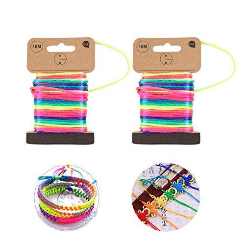 2 Piezas Hilo Elástico Cuerda de Abalorios Cordón Elástico, Hilo Elástico de Color Arcoiris, Cordón Artesanal de Bricolaje, Cuerda Elástica, para Pulseras Collares Joyas Artesanía(2.5mm x 10m)