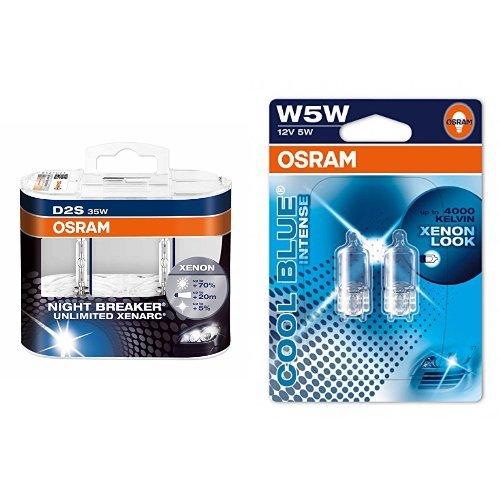 OSRAM D2S Xenarc Night Breaker Unlimited Xenon-Scheinwerfer Duobox und W5W Cool Blue Intense Standlicht, je 2 Lampen