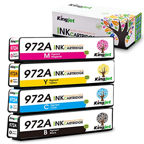 Kingjet Compatible Ink Cartridge Replacement for HP 972A 972 Work with PageWide 377dw PageWide Pro 477dn 477dw 577dw 577z 552dw 452dn 452dw 352dw P55250dw P57750dw Printer, 4 Pack