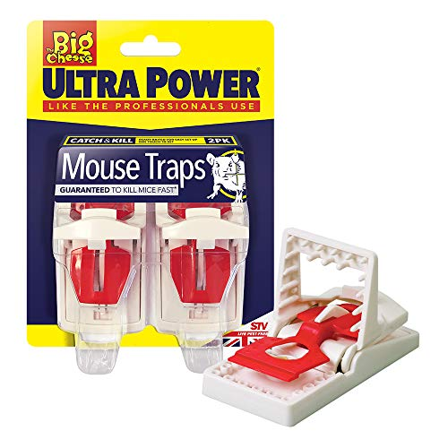 The Big Cheese STV148 Ultra Power Mouse Traps (Ready Baited, Easy to Set, Twin Pack), White, 19.0 cm*14.0 cm*6.0 cm
