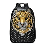 3D tiger head backpack bookbag, unique designer PU leather fashion travel laptop backpack (yellow)