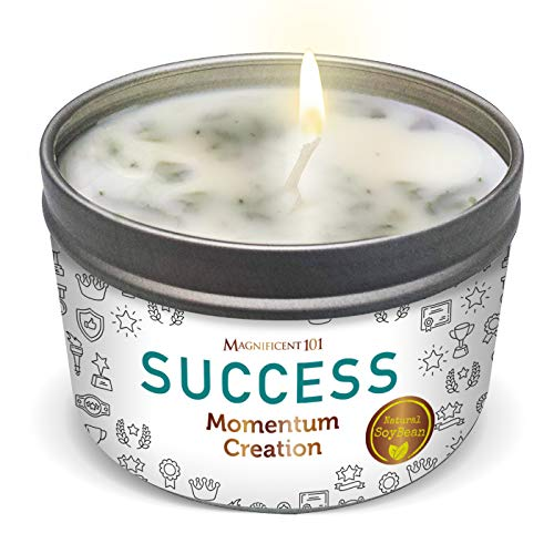 MAGNIFICENT 101 Success Aromatherapy Candle for Momentum Creation - Sage, Bergamot, Sandalwood Scented Natural Soybean Wax Tin Candle for Purification and Chakra Healing