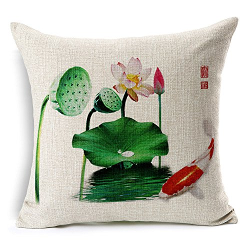 Poens Dream Cuscino, Lotus and Carp Cotton Linen 17.7inch Square Decorative Throw Pillow Case Cushion Cover