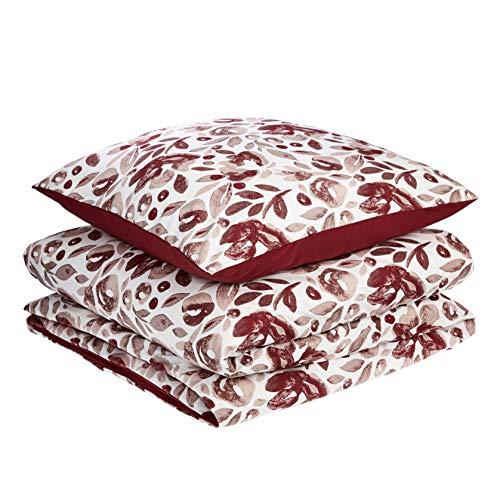 AmazonBasics - Juego de fundas de edredón y almohada de microfibra premium (135 x 200 cm / 80 x 80 cm), rojo rumba acuarela