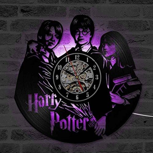 GuoEY Harry Potter Hermine Granger Filme Schallplatte, CD-Wecker, Kreative und Klassische Zimmer Kunst Dekor handgefertigte LED-Uhr