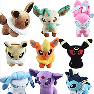 Lshuqing 9pcs/Set 12cm (4.7 inch) - 9Pcs/Lot Anime Vaporeon Jolteon Flareon Espeon Umbreon Leafeon Glaceon Sylveon Eevee Plush Toys