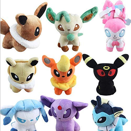 Lshuqing 9pcs/Set 12cm (4.7 inch) - 9Pcs/Lot Anime Vaporeon Jolteon Flareon Espeon Umbreon Leafeon Glaceon Sylveon Eevee Plush Toys