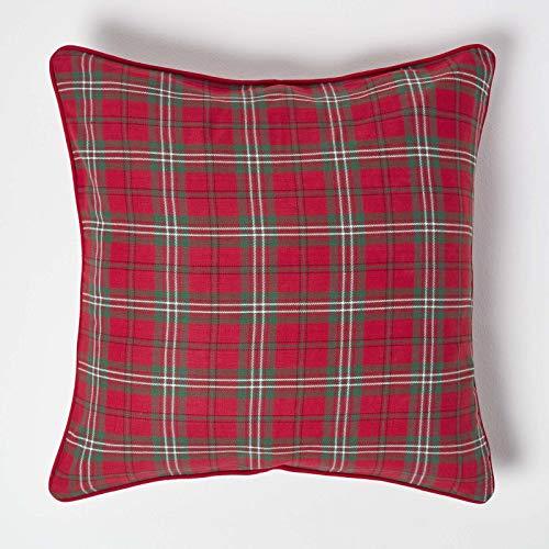 Homescapes Karierte Kissenhülle Edward 45 x 45 cm, Zierkissenbezug aus 100% Baumwolle mit schottischem Tartan-Muster und Reißverschluss, Schottenmuster rot-grün