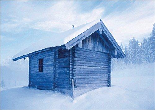 Kartenkaufrausch Fotokunst vouwkaart voor Kerstmis: Hütte in IJsblauw • Uitklapkaartenset met envelop voor kerstfeest, Nieuwjaar voor familie, vrienden, collega's van de firma