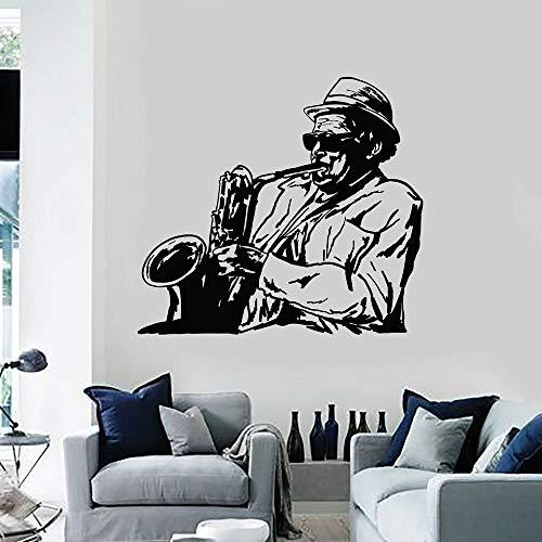 Música pegatinas de pared calcomanías de vinilo para pared juego de jazz calcomanías para instrumentos de saxofón ventanas para el hogar decoración del dormitorio