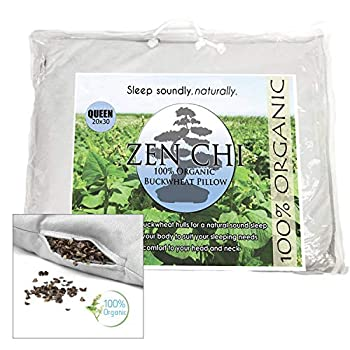 ZEN CHI Organic Queen Size Buckwheat Pillow for Sleeping  20 X30   w Natural Cooling Technology and All Cotton Cover w Organic Buckwheat Hulls