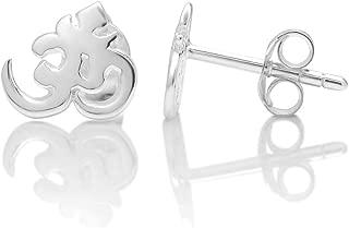 925 Sterling Silver Tiny Yoga Aum, Om, Ohm, Sanskrit 10 mm Post Stud Earrings