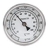 Termómetro de acero inoxidable NPT de 1/2', termómetro de olla roscado, termómetro de esfera metálica, accesorios de herramientas de cocina para preparar cerveza