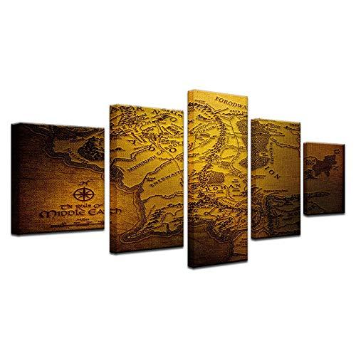 Yuanjun Pegatinas De Pared Decoración Moderna Lienzo Pintura Marco Inicio Dormitorio Arte De La Pared 5 Piezas Juego Tronos Mapa Imágenes Hd Impreso Modular
