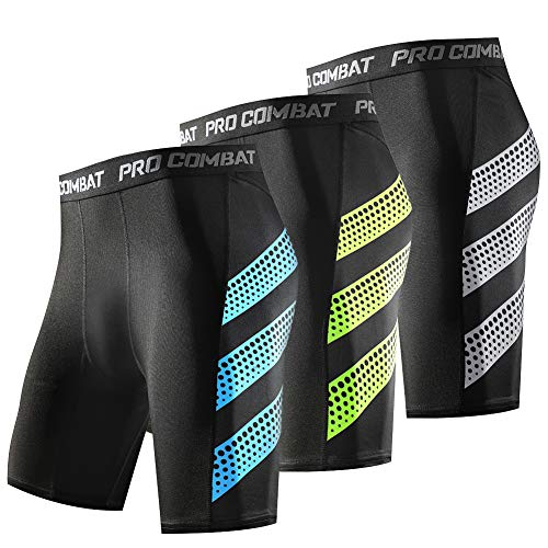 SRIWNP Men's Compression Shorts 3 Packs Cool Dry Baselayer Workout Tight Shorts Black