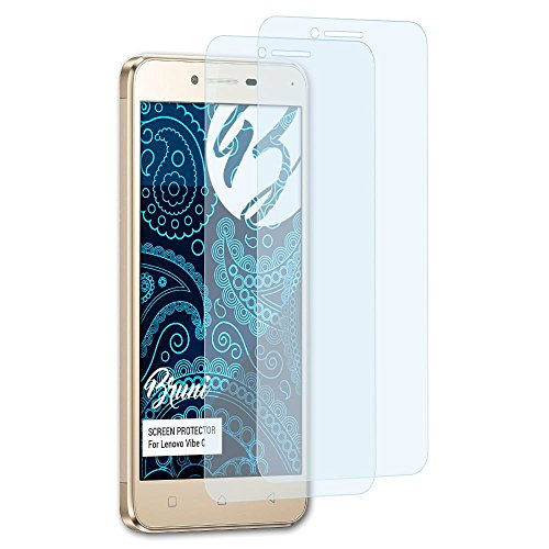 Bruni Schutzfolie kompatibel mit Lenovo Vibe C Folie, glasklare Bildschirmschutzfolie (2X)