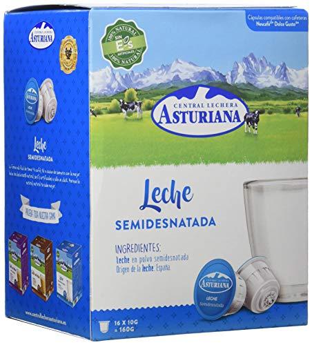 Central Lechera Asturiana Cápsulas de Leche Semidesnatada - Compatibles con Dolce Gusto - 4 Paquetes de 16 Cápsulas - Total: 64 Cápsulas (28410297270035)