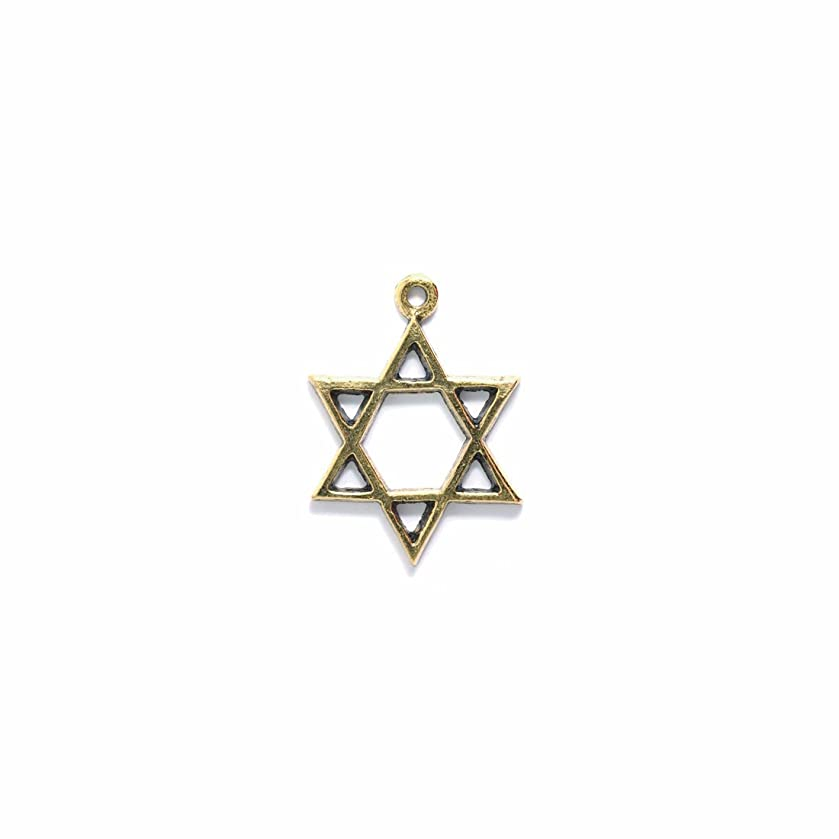 Shipwreck Beads Pewter Star of David Pendant, Metallic, Antique Gold, 33mm, 2-Piece kg31894618
