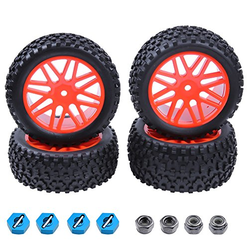 Hobbypark Front & Rear Tires and Wheels Set for RC 1/10 Off Road Buggy Redcat Shockwave Tornado S30 EPX / PRO ExceedRC EP SunFire HSP (4-Pack)