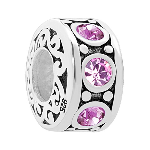 UNIQUEEN June Birthstone Swarovski Element Sterling Silver Charms fit Charm Bracelet
