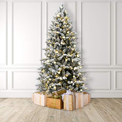MARTHA STEWART Globe Light Pre-Lit Artificial Christmas Tree, 5 Feet, Snow Flocked