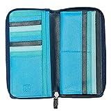 DUDU Portafoglio Donna Grande con Cerniera in Pelle Nappa Zip Around 15 Tasche Porta Carte di credito e Portamonete Blu
