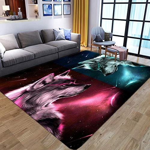 LHGBGBLN Cielo Estrellado Animal Lobo Sala de Estar Dormitorio Alfombra 3D Pasillo Alfombra de Piso Alfombra de Piso Abstracta Alfombra Antideslizante