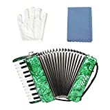 Acordeón, 22 teclas 8 Bajo Piano Acordeón Acordeón diatónico Instrumento musical educativo Instrumento de teclado para principiantes Estudiantes Niños Niños(Verde)