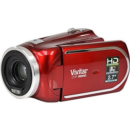 Vivitar DVR 960HD 1080p HD 12x Optical Zoom Video Camera Camcorder (Red)