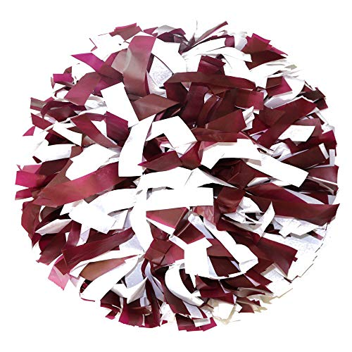 Danzcue 2 Pack 6 Inches Plastic Cheerleading Pom Pom with Baton Handle (Maroon-White, One Size)