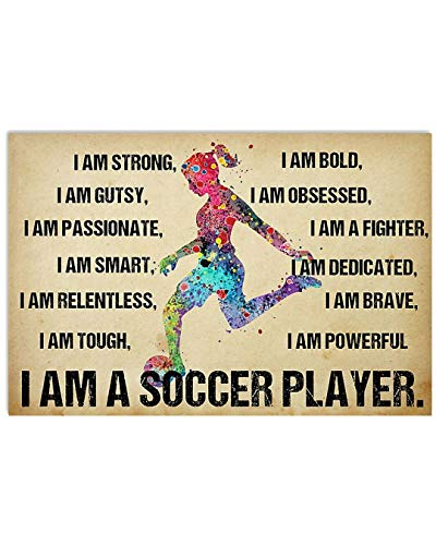 Girl I Am Gutsy I Am Passionate I Am Smart I Am A Soccer Player Poster No Frame Or Framed Canvas 0.75 Inch Print in Us Novelty Quote Meaningful, Motivational