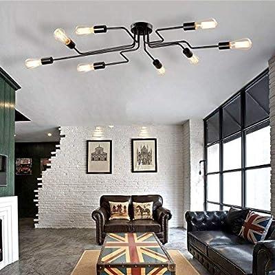 Modern Industrial Sputnik Ceiling Light - MKLOT Vintage Metal Pendant Lighting Fixture Black Painted Finish Semi Flush Mount Chandelier with 8 Lights for Kitchen Living Room Dining Room