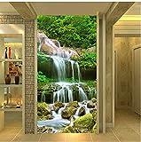 Living Equipment Mural Papel tapiz fotográfico personalizado Cascadas 3D Bosque Naturaleza Paisaje Murales Sala de estar Entrada del hotel Fondo Pintura de pared Decoración para el hogar Lienzo Mur