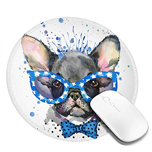 Mouse Pad,Cute French Bulldog Stylish Sunglasses Watercolor,Non-Slip Rubber Base Mousepad with Stitched Edge, Waterproof Office Mouse Pad