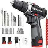 Cordless Drill Set, 12.8V Portable Drill Driver Cordless Power Drill with 2 Batteries, 30 Pcs Accessories, 25+1 Clutch, 2/5' Keyless Chuck, 249 In-lb Torque, 2 Speeds, LED Light