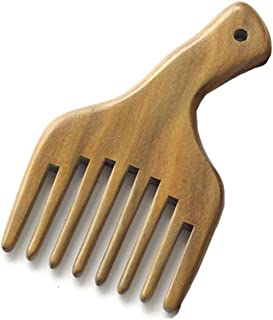 1 Pack Sandalwood Hair Pick Wide Tooth Hair Comb Hair Beard Pick Comb Wooden Hair Comb Afro Pick Lift Comb