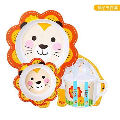 LMMJYF Bambusfaser Besteck Kinder Reisschalen Baby geteilt Geschirr Teller Teller Geschirr gesetzt-038 Löwe_23-28 cm