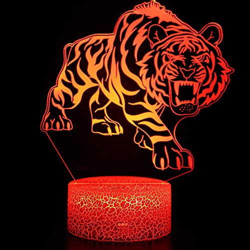 Tiger 3D Illusion Lamp, Tiger Gift for Boys, 3D Tiger Night Light for Kids, Best Gifts Toys for Boys Girls